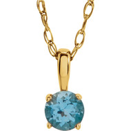 14k Yellow Gold Round Swiss Blue Topaz Pendant(.20ct)