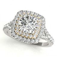 14K Two-Tone White with Yellow Gold Square Halo Diamond Engagement Semi-Mount Ring(.52ctw)