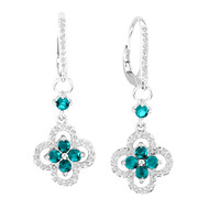 14k White Gold Round Blue Topaz and Diamond Flower Earrings (1.51ct t.w)