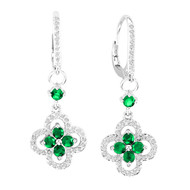 14k White Gold Round Emerald and Diamond Flower Earrings (1.61ct t.w)
