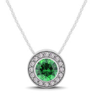 14k White Gold  Round Emerald and Diamond Circle Pendant(.62ct t.w)