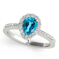 14k White Gold 7x5 Pear Shape Blue Topaz and Diamond Engagement Ring (1.20ct t.w)