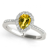14k White Gold 7x5 Pear Shape Citrine and Diamond Engagement Ring (.85ct t.w)