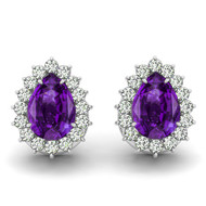 14k White Gold 6X4mm Pear Shape Amethyst and Diamond Earrings (1.00ctw)