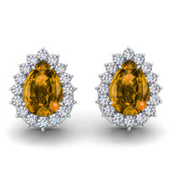 14k White Gold 6X4mm Pear Shape Citrine and Diamond Earrings (1.00ctw)