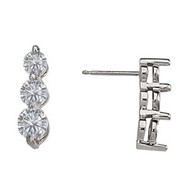 14k White Gold 3-Stone Diamond Earrings (2ctw)