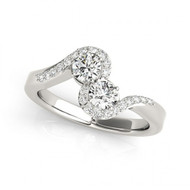 2-Stone Half-Halo Round Diamond Engagement Ring       (1/2 - 1 1/4ctw)