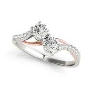 2-Stone Bypass Round Diamond Engagement ring in 14k Two-Tone Gold (2/5ctw - 1 1/10ctw)