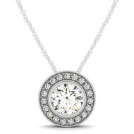 Round Diamond Halo Pendant Necklace set in 14kt White Gold (1.20 cttw)