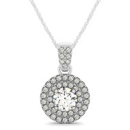 Double Row Round Halo Diamond Pendant Necklace set in 14kt White Gold (0.75 cttw)