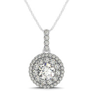 Elegant Double Row Round Halo Diamond Pendant Necklace set in 14kt White Gold (1.25 cttw)