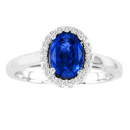 Oval Gemstone Halo Ring set with Diamonds in a 14kt White Gold Band