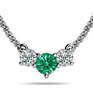 Round Emerald Three Stone Olympic Pendant Necklace set in 14kt White Gold (0.33 cttw, i-1)