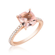 Morganite and Diamonds 14k rose gold