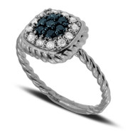 Square Ring with Blue and White Diamonds set in 14k White Gold (.38ct)