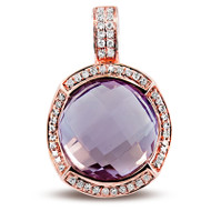 Pink Amethyst pendant set in 14k Rose Gold (.16ct)