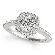1/3 ct Round Diamond Square  Engagement Ring in 14k White Gold (.53ct t.w)