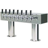 Double Pedestal - 8 Faucet - Polished Stainless Steel - Glycol Cooled