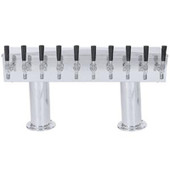 Double Pedestal - 10 Faucet - Polished Stainless Steel - Glycol Cooled