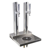 Skyline Beer Tower - 2 Faucet - Polished Stainless Steel - W/ Rinser