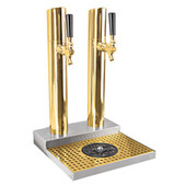 Skyline Beer Tower - 2 Faucet - PVD Brass - W/ Rinser