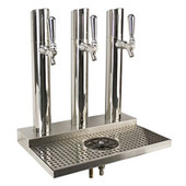 Skyline Beer Tower - 3 Faucet - Polished Stainless Steel - W/ Rinser