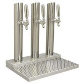 Skyline Beer Tower - 3 Faucet - Polished Stainless Steel - W/O Rinser