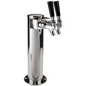 Shotgun Tower - 2 Faucet - Polished Stainless Steel - Air Cooled