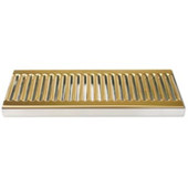 "Surface Mount 5"" Wide Drip Trays w/ Drains - PVD Brass"