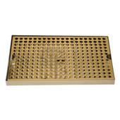"Surface Mount 8"" Wide Drip Trays w/ Drains- PVD Brass"