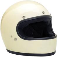Biltwell Gringo Retro Fullface Helmet DOT Approved Gloss Vintage White