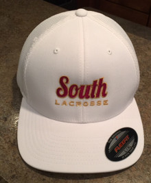 LSLAXBBHATW White FlexFIt Baseball Cap with Embroidered Lakeville South Lacrosse Logo