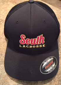 LSLAXBBHATB  BLACK FlexFIt Baseball Cap with Embroidered Lakeville South Lacrosse Logo