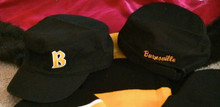 """BSBLMC - BLACK  Ladies Distressed Military Cap with embroidered """"B"""" & Burnsville stitched on back of hat"""