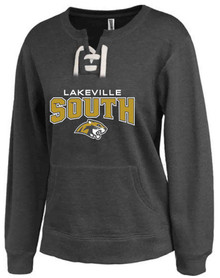LSW10 - Lakeville South Cougars WOMEN's BLACK Lace-Up Crew Sweatshirt  with Metallic Gold & White Logo