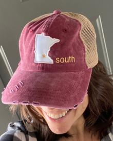 LSCT17 Cardinal Distressed Baseball Cap with Minnesota Star South Logo