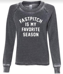 LSSB09 Alternative - Women's  Burnout French Terry Sweatshirt  (Washed BLACK) with Fastpitch is my Favorite Season Screen Printed Logo