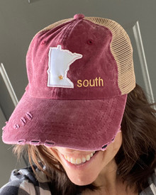 LSSB13 Cardinal Distressed Baseball Cap with Minnesota Star South Logo