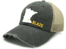 BFP12 Black Distressed Baseball Cap with Minnesota / Blaze Star South Logo