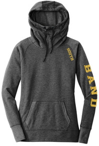 BAND09 New Era® Ladies Tri-Blend Fleece Pullover Hoodie (BLACK HEATHER)  with SOUTH Logo on shoulder (BAND on SLEEVE is OPTIONAL)