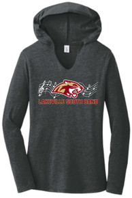BAND07 District ® Perfect Tri ® LADIES Long Sleeve Hoodie (BLACK FROST) with Full Front Screen printed logo