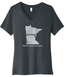 BELLA+CANVAS ®Women's (Dark Grey Heather) Relaxed Jersey V-Neck Tee with MN STRONG  #BetterTogether (YetApart!) Logo - SHIPPING INCLUDED
