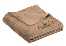 Port Authority ®Ultra Plush  (TAN - FAWN) Blanket with embroidered Wild Rose logo