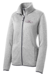 Port Authority® Ladies Sweater Fleece Jacket (Grey Heather) with Wild Rose Embroidered Logo Left chest