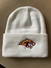 White Knit Beanie with Fold with embroidered Cougar Head Logo