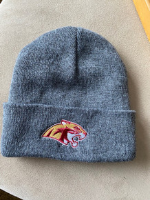 10 Charcoal Gray Beanie with fold and embroidered Cougar Head logo