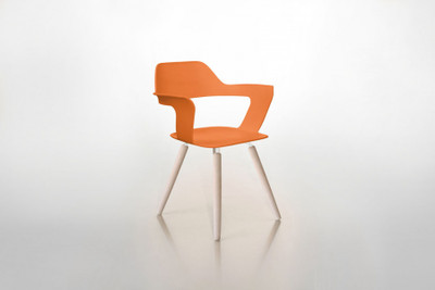 MUSE Orange Chair Wooden Legs
