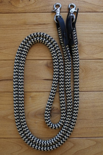 Snap Reins shown in our Black/Tan Zig Zag pattern with optional black Waterloops.
