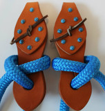 Honey Harness Two Piece Slobber Straps Shown with Optional Turquoise Dots that Perfectly Match our Blue Reins and Mecates.