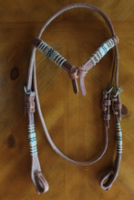 Futurity Knot Harness Leather Headstall with Rawhide